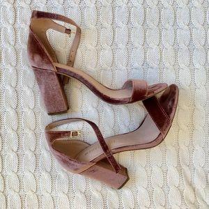 Pink velvet heels!